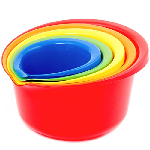 5 Set Mixing Piece - Srenta 5 Piece Multicolored Plastic Mixing Bowl Set, PBA Free, Pour Spout Lip for Easy Mixture Transferring,