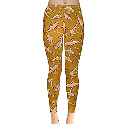 CowCow Womens Yellow Stylized Sharks Stylish Design Leggings