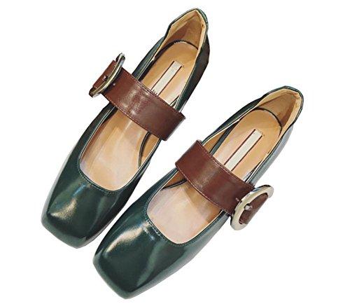 Retro con una hebilla de la palabra con los zapatos de las mujeres hebilla de los zapatos de la boca baja cuadrados Green