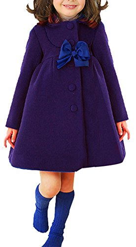 (JiaYou Girl Child Kid Butterfly Buttons Outwear Pea Coat(Blue,Height)