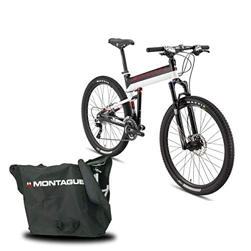 Montague Paratrooper Elite 30 Speed Folding Mountain Bike, Folding Bicycles for Adults, Folding Bicycle, Folding Bike Bundled with Carrying Case Bag and Outdoors Equipments Guide Book, Medium-18 Inch