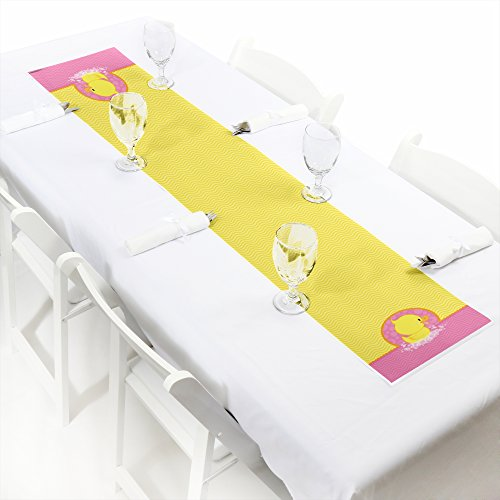 Big Dot of Happiness Pink Ducky Duck - Petite Girl Baby Shower or Birthday Party Paper Table Runner - 12 x 60 inches