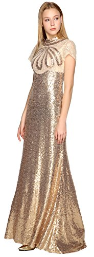 Sleeves High Sequin Formal Neck MACloth Illusion Gown Evening Dress Short Prom Gold 1wqt7