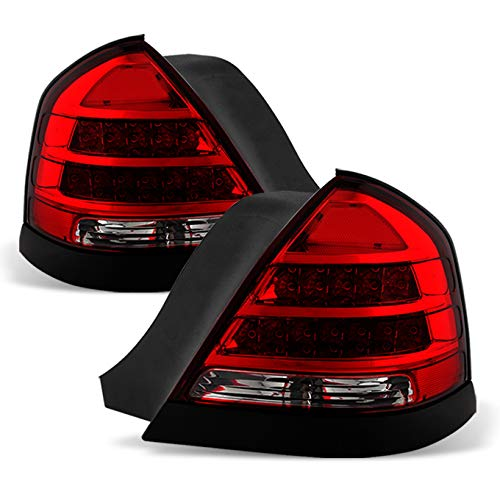 For Dark Red 1998-2011 Crown Victoria LED Tail Lights Brake Lamp Replacement Driver And Passenger Side Pair
