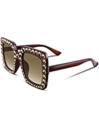 Women Sparkling Crystal Sunglasses Oversized Square Thick...