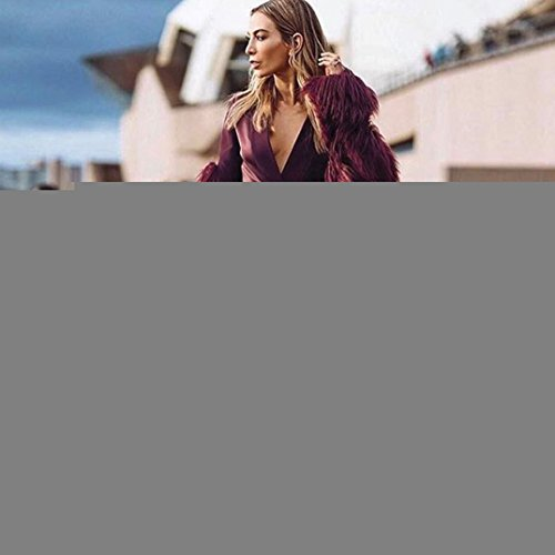 Mujer Chaqueta de de Invierno de KaloryWee Piel Abrigo para Mujer Cálida Parka Abrigo Rojo Sintética 5wqXqS