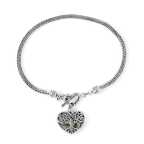 (Abalone Shell 925 Sterling Silver Toggle Clasp Love Heart Valentines Bracelet for Women with Charm Size 8.00