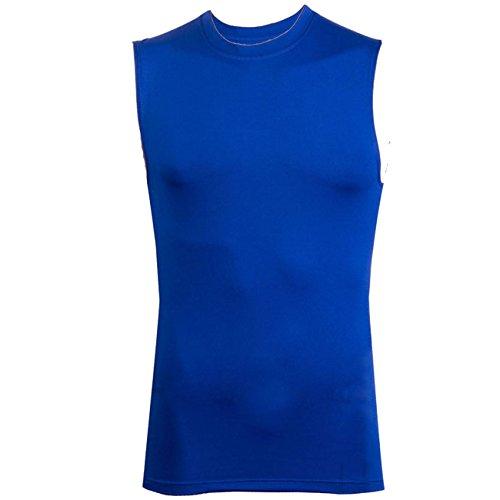 Dong Dian Men's Compression Sports Gym Vest T-shirt Muscle Tank Top Blue XXL
