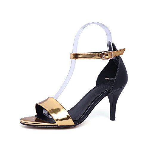 Toe Patent AmoonyFashion Color High Buckle Leather Womens Open Assorted Sandals Gold Heels ff6qXF5