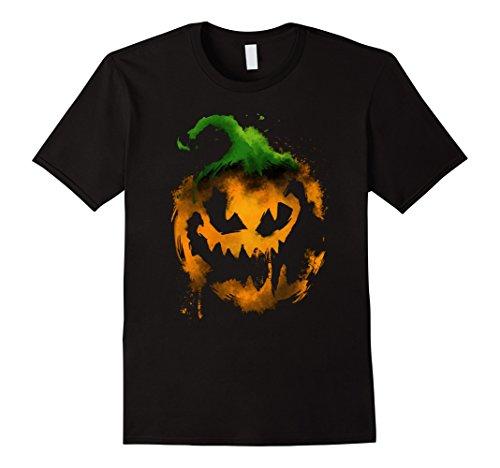 Mens Creepy Pumpkin Watercolor Effect Shirt - Halloween Shirt Large (Creepy Pumpkin)
