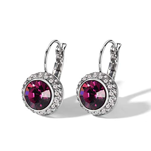 T400 Jewelers Blue Purple Pink White Black Crystal Round Lever Back Bella Earrings Graduation Gift for Women Girls