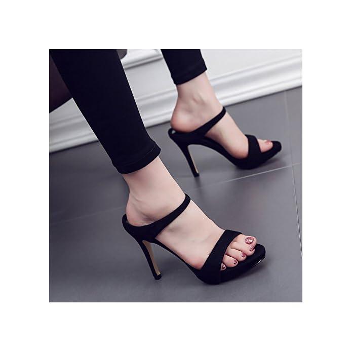 Qingchunhuangtang Tacco Alto Pantofole Bene Con I Sandali Indossare Un Fresco Il Drag And Drop