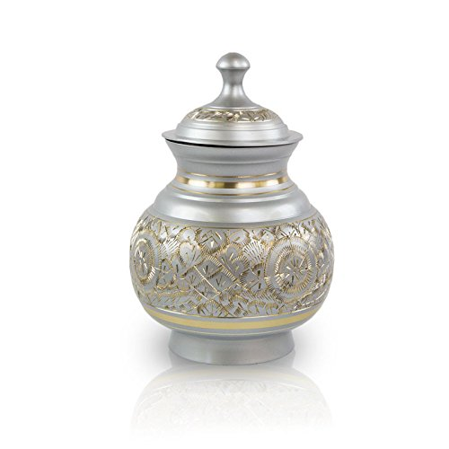 Timeless Etched Bronze Memorial Urn for Cat, Dog - Extra Small - Holds Up to 25 Cubic Inches of Ashes - Etched Silver Pet Cremation Urn for Ashes - Engraving Sold Separately by OneWorld Memorials