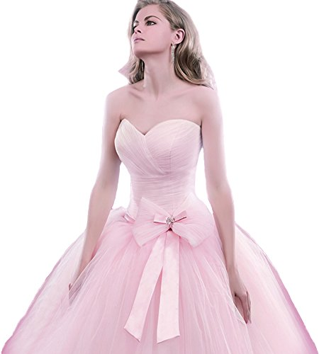 Beauty Bridal Long Prom Ball Gown Tulle Sweetheart Quinceanera Dress(12,Pink)