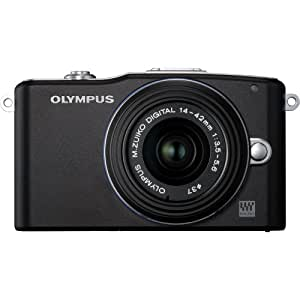 Olympus PEN E-PM1 12.3MP Interchangeable Camera with CMOS Sensor, 3-inch LCD and 14-42mm II Lens (Black) (Old Model)