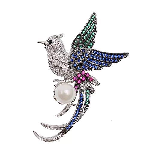 Mondora Prom Brooch Pin Hummingbird Simulated Pearl Women's Cubic Zirconia Silver-Tone Multicolor