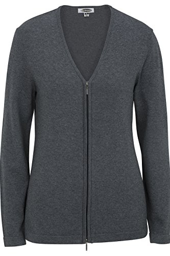 Edwards Women's Full Zip V-Neck Cardigan Sweater, Smoke Heather, Large - Ladies Full Zip Cardigan Sweaters