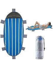 Idtap Tappetino da Spiaggia Portatile Impermeabile con Cuscino Gonfiabile e 8 Sacchi di Sabbia