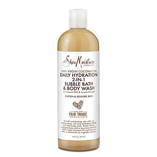 Shea Moisture 100 Percent Virgin Coconut Oil Daily Hydration 2-in-1 Bubble Bath and Body Wash By Shea Moisture for Unisex - 16 Oz Body Wash, 16 Ounce ()