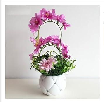 JHDH2 Künstliche Blumen Set Kunstblumen Schlafzimmer Möbel Wohnzimmer  Dekoration Seidenblume Phalaenopsis Blume Ornament Grün,