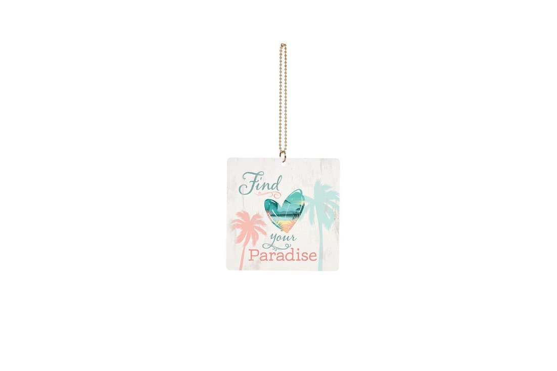 P GRAHAM DUNN Find Your Paradise Palms Square 3 x 3 Wood Hanging Car Dangle Charm P Graham Dunn