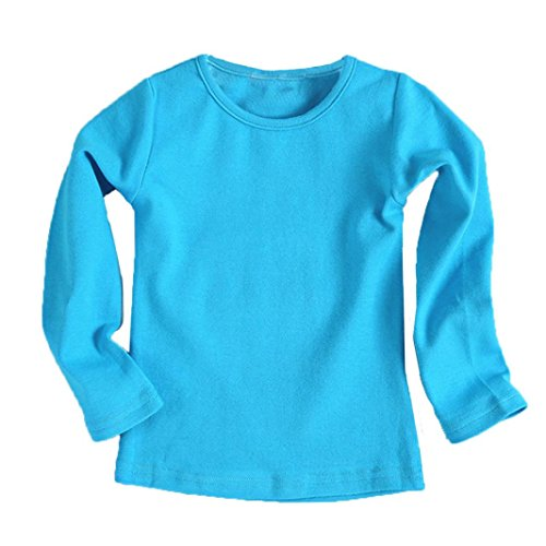 Fullfun 2-6T Baby Boys Girls Long Sleeve Cotton Shirts Clothes for Autumn Winter (4T, (Light Blue Infant Sweatshirt)