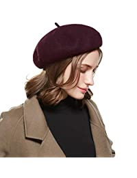 WELROG French Beret Hat Adjustable Wool Casual Classic Solid Color Winter Hats