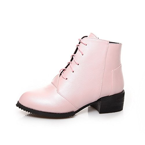 Closed Material Toe Kitten Heels Solid Women's Lace Up Soft Round AmoonyFashion Pink Boots REq6Stw