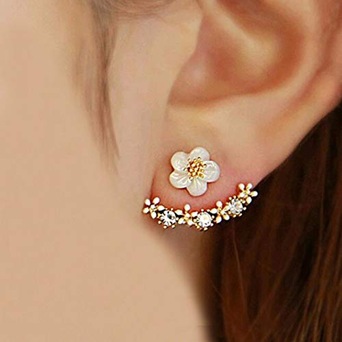 MACHEE Crystal Stud Earrings Boucle doreille Femme 2017 Fashion Flower Earrings for Women Gold Bijoux Jewelry Brincos Pendientes Mujer, Gold and White