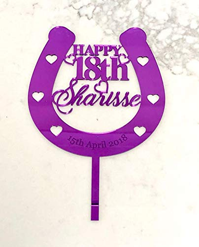 Horseshoe Birthday Cake Topper Lucky Horse Shoe with Name & Age Engraved Horse Shoe Cake Decoration Lucky Horseshoe Party Cake Topper