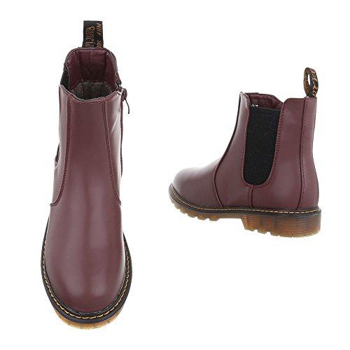 Boots Design Heel Block Weinrot Chelsea Boots Ital Women's YaxAYP