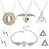 4 Piece Harry Potter Necklace Bracelet with The Deathly Hallows Golden Snitch Time Turner Chain Pendant Necklace for…