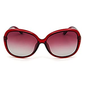 Leckirut Womens Oversized Polarized Sunglasses UV400 Protection Rhinestone Frame Sun Glasses for Driving Travelling red