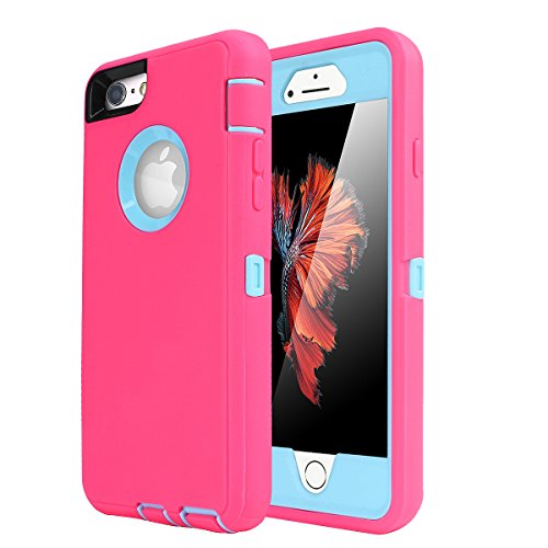 iPhone 6 Plus/6s Plus Case, AICase Built-in Screen Protector Tough 4 in1 Rugged Shorkproof Dustproo Rainproof Cover for iPhone 6 Plus/6S Plus (Light Blue/Pink)