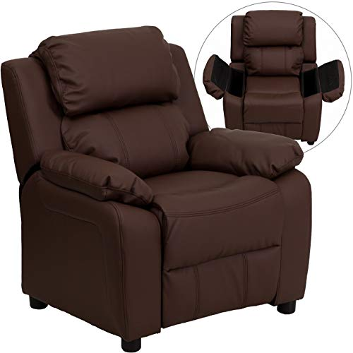 Flash Furniture Deluxe Padded Contemporary Brown Leather Kids Recliner with Storage Arms -,