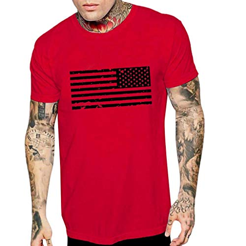 Respctful✿Men Short Sleeve Casual Tops 3D Strips and Stars Print Graphic Tee Summer Beach American Flag Loose Blouse Tops - Helmet Hitch College Covers