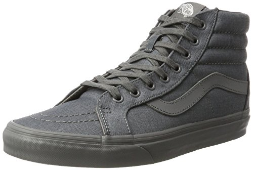 VANS Unisex Sk8-Hi Skate Shoes, Lace-Up High-Top Style in Durable Canvas and Suede Uppers, Supportive and Padded Ankle in Vans Vulcanized Signature Waffle Outsole Gray/Gray
