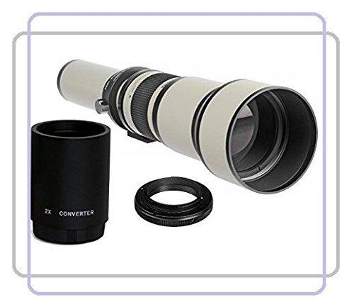 BlueTech 650-1300mm f/8-16 Manual Focus Telephoto Zoom Lens (White) + 2x Teleconverter = 2600mm For Pentax K-S1, K-S2, K-m, K-r, K-x, K-01, K-3, K-5, K-5 II, K-5 IIs, K7, K10D, K20D, K-30, K-50, K100D, K110D, K-500, K200D, K1000, K2000,istDS2,istDS,istDL2,istDL,istD, (K-Mount) Digital SLR Camera