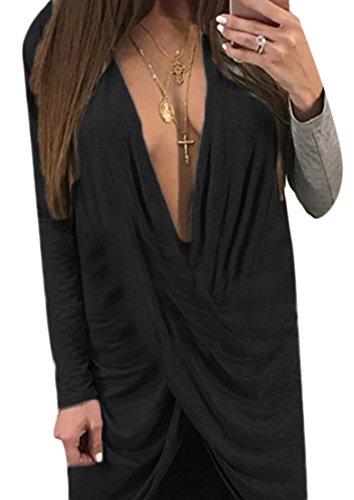 Jaycargogo Femmes Sexy Croisillons Envelopper Longue Partie De Mini-manches Chemises Robe Noire