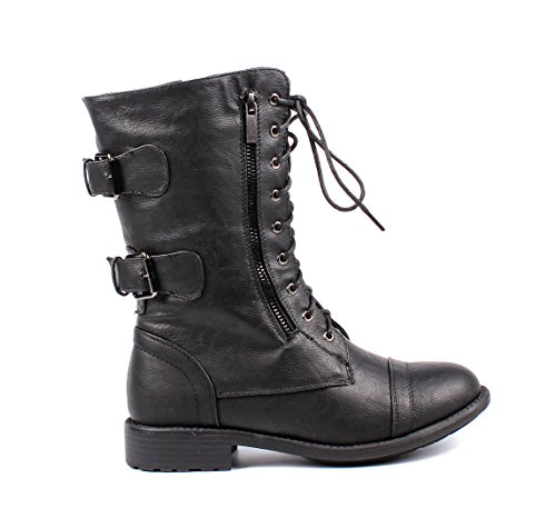 Winter up Leather Buckle Womens Zip Combat Lace Black Fashion Womens Faux Shoes Military Boots Calf Mid Boots Rx6wgnUzBq