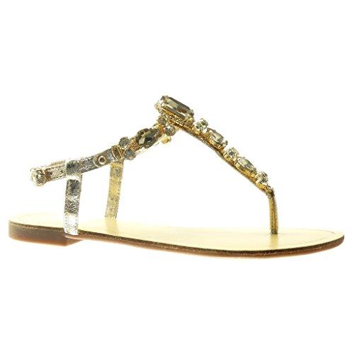 9dc8c4155 Angkorly - Zapatillas de Moda Sandalias Chanclas correa mujer joyas strass  fantasía Talón tacón plano 1.5