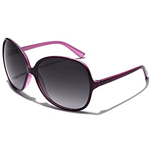 Oversized Round Frame Women's Butterfly Fashion Statement Sunglasses (Two Tone Purple | Gradient Smoke, 67)