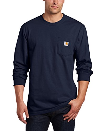 Patch Long Sleeve Tee - Carhartt Men's Size Big & Tall Workwear Pocket L/S Tee, Navy, X-Large