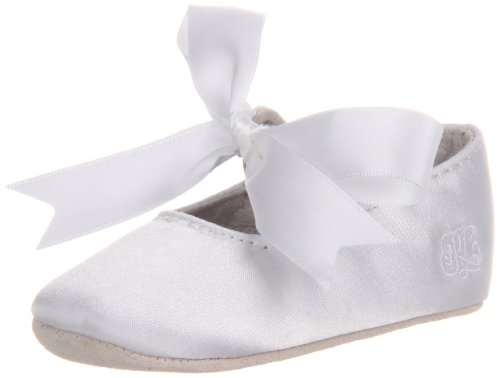 Ralph Lauren Layette Briley Ballet Crib Shoe (Infant/Toddler),White Satin,1 M US Infant