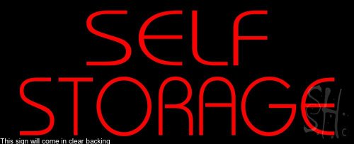 Self Storage Clear Backing Neon Sign 13'' Tall x 32'' Wide by The Sign Store