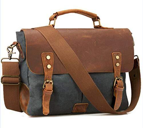 Leather + Canvas Men Briefcase Business Bag Portfolio Men Office Bag Male Canvas Briefcase Attache Case Document Tote,Dark Grey