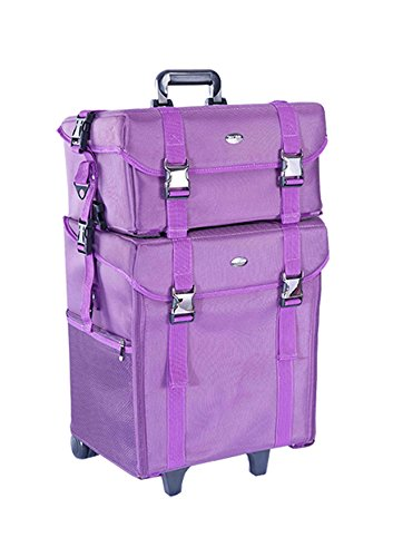 Professional Makeup Artist 2 in 1 Rolling Makeup Train Case Cosmetic Organizer Soft Trolley w/ Storage Drawers & Metal Buckles (Purple Fabric) by MUA