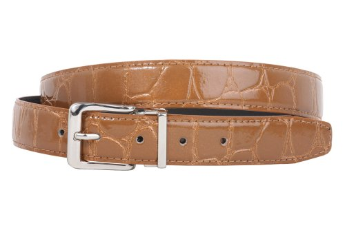 Clamp On Single Loop Silver Faux Alligator Grain Patent Leather Belt Size: One-size-fits-all Color: (Brown Patent Faux Leather)