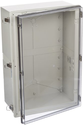 BUD Industries NBA-10176 Style A Plastic Indoor Box with Clear Door, 23-39/64'' Length x 15-3/4'' Width x 9-3/64'' Height, Light Gray Finish by BUD Industries