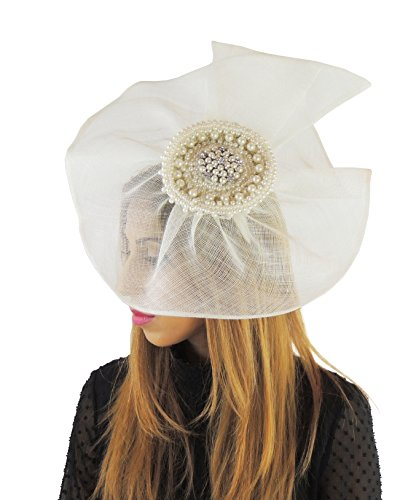 Hats By Cressida Ladies Sinamay Bow Ascot Fascinator Hat With Headband Ivory by Hats By Cressida